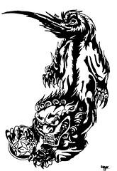 Perro de Fu (Malvavisco.) Tags: bw arte negro perro fu dibujo indeleble fibrn perrodefu
