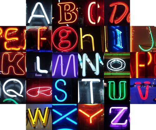 Granville neon alphabet