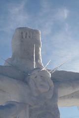 Snow sculpture: crucifixion