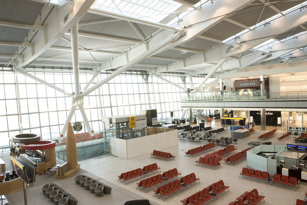 Image: Heathrow Terminal 5, via.  Wikipedia.  Back in San Francisco, after a 12-hour delay at Heathrow's. in London.