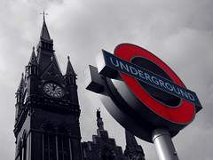 Underground time (Rich007) Tags: uk greatbritain roof red england blackandwhite bw london monochrome station sign architecture train underground blackwhite europe eurostar unitedkingdom britain tube victorian railway tint terminal international victoriana gb londonunderground kingscross railways stpancras tinted gilbertscott barlow chunnel terminus tints georgegilbertscott channeltunnel 1868 saintpancras williamhenrybarlow stpancrasinternational thecathedralofrailways