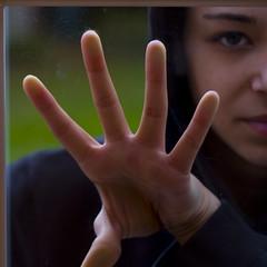 Iron Photographer (__KAREN__) Tags: window glass girl rain canon square iron photographer hand body sassy human utata genius smear sheissobeautiful utata:color=black utata:project=ip44