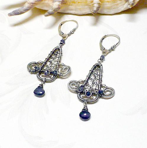 Iolite and Sterling Earrings