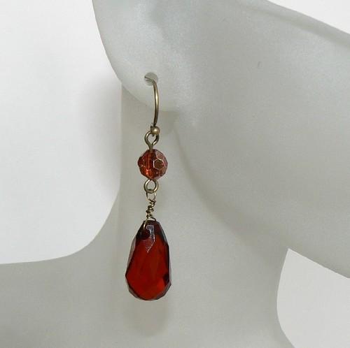 Antique Gold, Garnet Drop Earrings  #3686