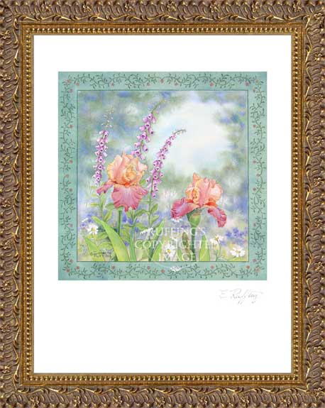 Iris and Foxlgloves by Elizabeth Ruffing Framed Print