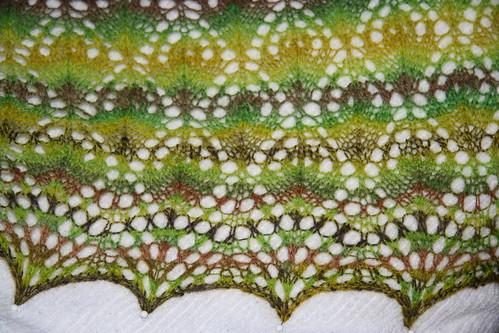 North Roe shawl blocking detail