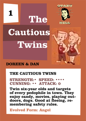 The Cautious Twins Trading Card back