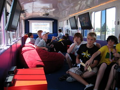 SingStar Karaoke, Super Mario Kart, & RockBand on the mobile video game party bus (The Busy Bus: Video Game & Tumble Bus) Tags: school party high guitar events nintendo teenagers teens parties xbox jr hero nights sacramento guitarhero harper rockband playstation singstar graduationday supermariokart wii heronintendo