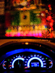 What a colorful world out there ! (kktp_) Tags: bus water car rain thailand lights droplets nikon colorful dof traffic bokeh bangkok toyota dashboard speedometer camry sigma30mmf14 d80 incameradiptych ehbd elapsedtime046