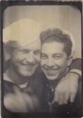 00595 varones (VARONES!) Tags: friends male men smile vintage army marine couple uniform photobooth buddies friendship affection antique pals guys sailor mates affectionate varones