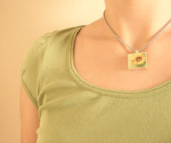 Sunflower Scrabble Necklace