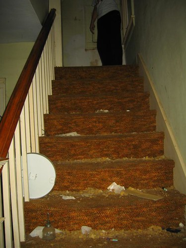 Dustball coated stairs