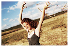 Chen (Levieran2) Tags: blue red sky woman nature girl beautiful smile field happy israel eyes nikon head d 50 showcase chen