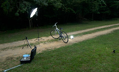 Setup for Day 8 Bicycle shot (Tony Maro) Tags: bicycle forest umbrella olympus westvirginia setup greenbrier pelicancase strobist