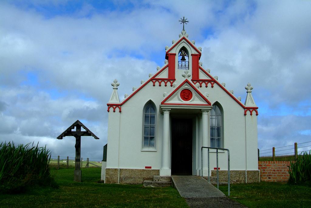 Italian chapel external at the churchill barrier