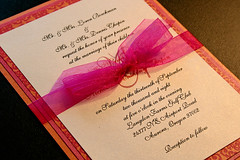 Chapin/Boeckman Wedding -Invitation- (jcwpdx) Tags: pink wedding orange paper print typography layout design graphicdesign invitation script stationary