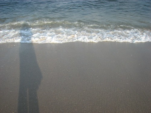 My shadow as the waves come in