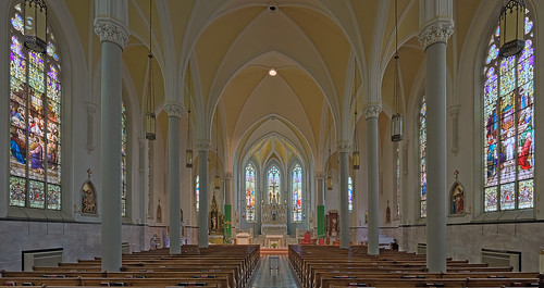 Our Lady of the Holy Cross Roman Catholic Church, in Saint Louis (Baden), Missouri, USA - wide view of interior