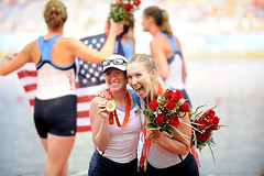 UW alumni Mary Whipple and Anne Cummins celebrate together after winning gold with the USA women's eight with cox at the Olympic Games in Beijing. (CC2008NN) Tags: china usa uw anne gold women mary beijing medal rowing olympic 2008 eight alumni cummins whipple