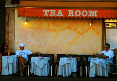 Tea for three (victoria0805) Tags: italy man rome coffee reading cafe smrgsbord mywinners nikond40 theperfectphotographer