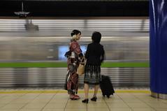 Kimono girl in Tokyo subway (marcusuke) Tags: girl japan subway japanese tokyo nikon asia chica metro yukata 1750  nippon  kimono tamron japon f28 nihon d300 tky 5photosaday earthasia