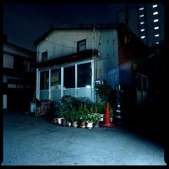 Illuminations (gullevek) Tags: longexposure light sky building 6x6 film japan night geotagged lights iso100 tokyo kodak bronica   housebuilding  bronicasqai  geo:lat=35562336 zenzabronicasqai kodakektachromeepp100 zenzanonps50mmf35 geo:lon=139689247