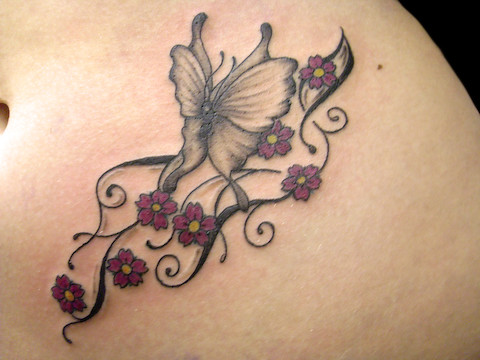 Flower butterfly tattoos for Flower and butterfly tattoo