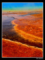 Water On Mars?   Yellowstone (Bonell Photography (dasbull)) Tags: blue red summer mars orange hot colour green water colors yellow river lumix spring intense rainbow montana rocks peace roadtrip basin steam panasonic biscuit wierd yellowstone layers wyoming fz50 dasbull ronbonell