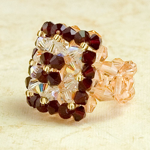 ANTIQUE Bordeaux and Crystal Swarovski Flowers Ring