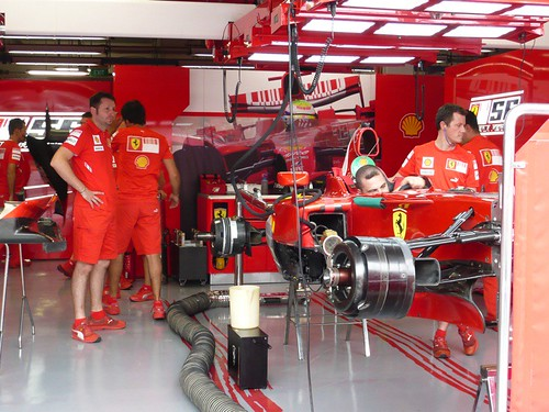 Mechanics working on Massa's Ferrari