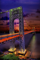 George Washington Bridge, NY (Tony Shi.) Tags: park bridge ny sunrise river george washington architechture nikon colorful long exposure view place state suspension fort nj landmark icon lee stunning hudson fx sureal gwb gwbridge interstate95   historicpark    removedfromnikonfxfortags   nikonfx  thnhphnewyork    amazingeyecatcher