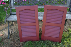 The freshly painted shutters