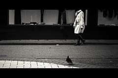 Horizontals: White coat (manganite) Tags: street city people urban bw white black topf25 girl fashion modern contrast digital germany dark walking geotagged google cool nikon women europe legs boots tl framed candid coat young cologne lifestyle streetscene kln fancy d200 nikkor dslr sideview vignette 50mmf18 northrhinewestphalia coolsexy utatafeature manganite nikonstunninggallery repost1 date:year=2008 date:month=october date:day=11 geo:lat=5093901 geo:lon=6950955 format:orientation=landscape format:ratio=21 repost2 repost3
