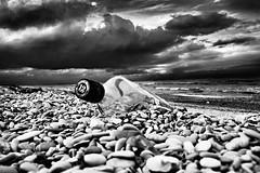 Johnnie Walker doesn't walk anymore (Effe.Effe) Tags: sea blackandwhite bw beach blackwhite seaside bottle mare shoreline bn spiaggia bianconero senigallia biancoenero bottiglia bwdreams flickrsbest johnniewalkerdontwalkanymore