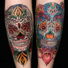 sugar skull tattoos (maliareynolds) Tags: pink blue atlanta red rose skull purple tattoos diadelosmuertos callalily sugarskull blackandgrey memorialtattoo maliareynolds femaletattooer atlantatattooer