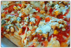 Pizza Primavera (Zeetz Jones) Tags: tomatoes pizza explore carrots zucchini bluecheese parm yellowsquash redbellpepper marinarasauce mozza oblongpizza explore4376709