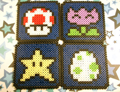 Mario Power Up Coasters (Dark Blue) (ghosts_in_towers) Tags: mushroom star nintendo mario fanart sega bead videogame coaster yoshi coasters hamabeads perlerbeads fancraft