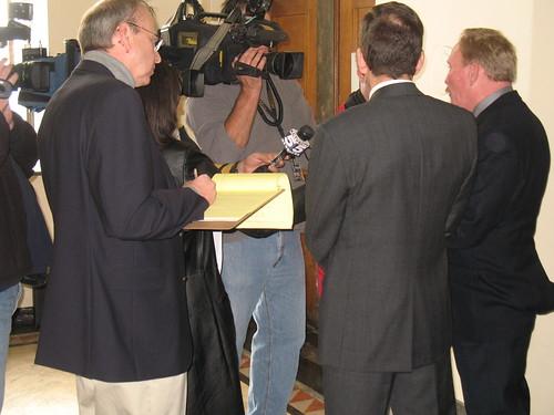 Rick & Ron Osborn talk with the media