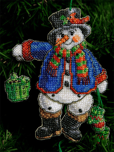 Homemade Christmas Ornament ~ Cross Stitched Frosty the Snowman