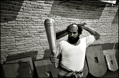 Pahlavani   (quixotic54) Tags: leica bw film 35mm blackwhite iran wrestling traditional middleeast rangefinder persia mount summicron gymnastics coolscan m6 asph yazd leicam6 kodaktrix400 nikoncoolscanved summicronm mmount bastani leicasummicron35mmf20asph varzeshe pahlavani