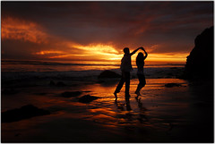 Dancing (Extra Medium) Tags: sunset reflection love beach clouds dance engagement couple dancing engagment michellejeff elmatadorstatebeach losangelesweddingphotographer santabarbaraweddingphotographer vcfair09 venturacountyweddingphotographer camarilloweddingphotographer