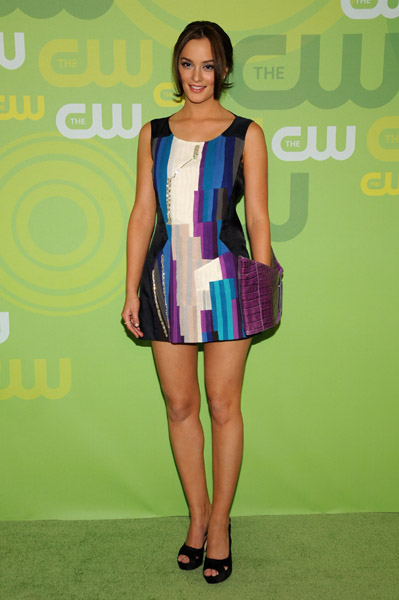 Actress Leighton Meester arrives at the CW Network's Upfront at Lincoln Center on May 13, 2008 in New York City.