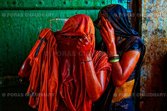 Looking Through the Veil ( Poras Chaudhary) Tags: red orange india green colors festival women colorful celebration holi sari