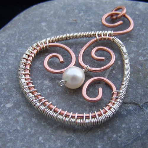 Sterling silver and copper hammered pendant with pearl