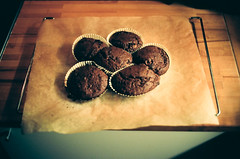 Something muffins going on (botterli) Tags: cooking kitchen 35mm muffins cupcakes baking kodak gonewrong ektar100