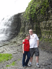 Juslin and Iona in Ithaca's waterfall.