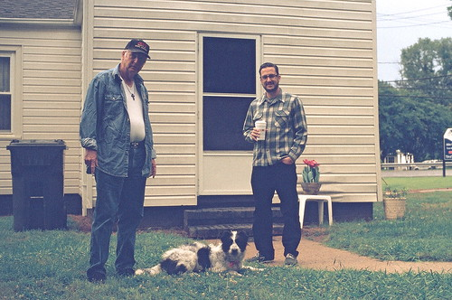 a real southern dog, Daisy, with denim on denim dad & Pete