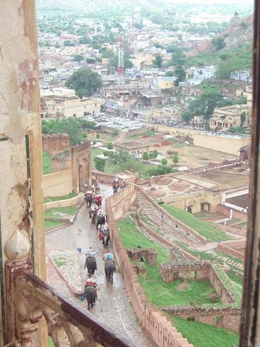 Subida al Amber Fort con elefantes