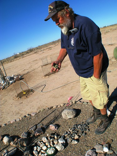 Keith talking about his rocks in Deming, New Mexico, USA