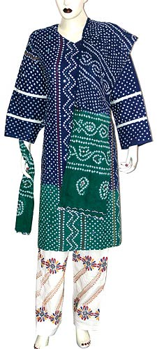 Cotton Clothes Womens Dress Salwar Kameez Tie Dye Print Embroidery India
